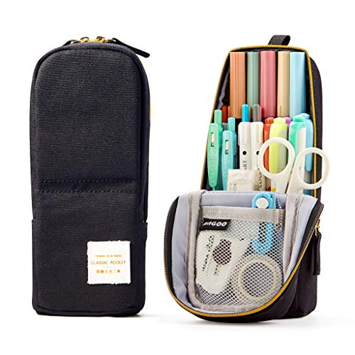 ANGOOBABY Standing Pencil Case Canvas Pencil Pouch Pen Bag for Teen Girl Boy Students (Black)