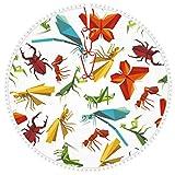 ZVEZVI Falda de árbol de Navidad con Adorno de Pompones, Papel Origami Insectos Animales Falda de árbol Cubierta de Base de árbol para Navidad 30 Pulgadas