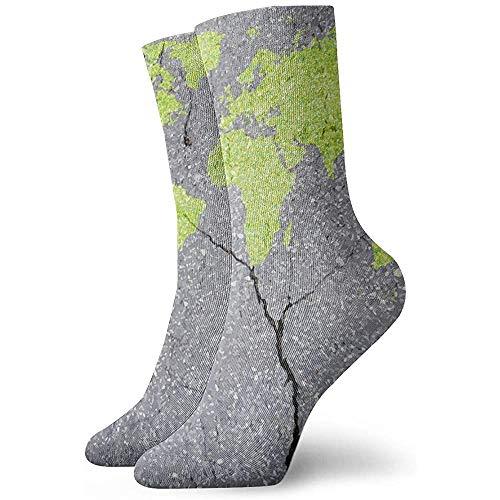 Kevin-Shop Unisex volwassenen 18 jaar kaart groen op gescheurde muren kleding nieuw dikke sokken voor reizen werken lopen wandelen outdoor