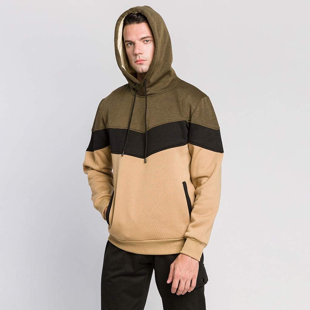 Hoodies for Men Mens Contrast Color Pullover Fleece Hoodie Cozy Sport Outwear Sweatshirts for Men Tops