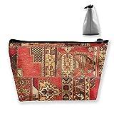 Bolsa de almacenamiento para cosméticos trapezoidales, estilo turco, con cremallera, multifuncional, para viajes, compras, monedero, organizador de regalo
