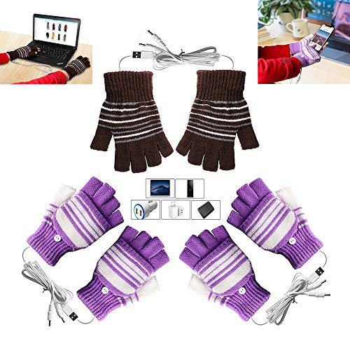 [3 Pack] USB Heated Gloves for Men and Women Mitten, AIKIN USB 2.0 Powered Stripes Heating Pattern Knitting Wool Heated Gloves Hands Warmer Laptop Gloves Fingerless Washable (2Purple+1Brown)