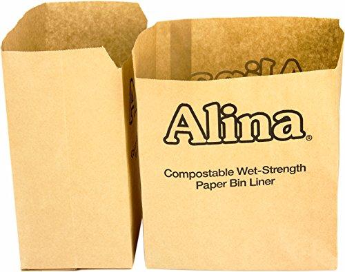 Alina 100 x 6L to 8L Compostable Paper Caddy Bin Bag/Food Waste Bin Liner/Biodegradable Brown 7 Litre Paper Sack Composting Guide (100 bags)