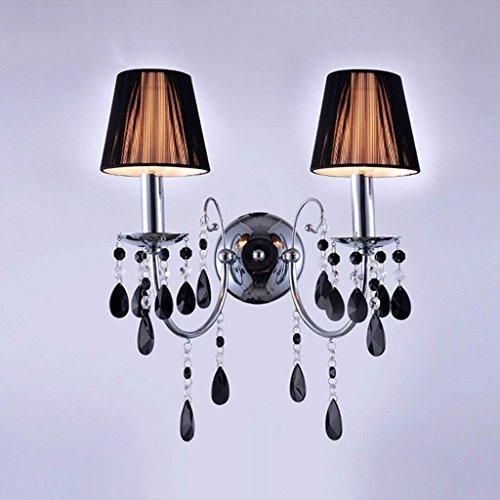 DSJ Crystal Wandlamp bedlampje slaapkamer lamp Europese eenvoudige enkele kop wandlamp zwart modern, dubbele kop
