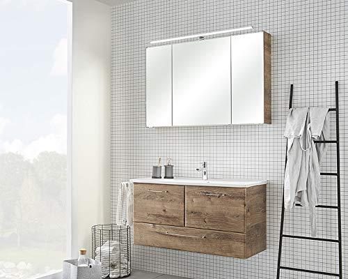 Pelipal - FILO 23 - Badmöbel-Set - 100 cm - Badset Komplettset 3-teilig mit Spiegelschrank Keramik-Waschtisch usw. in Eiche Ribbeck quer Rustico - EEK: A+ (Spektrum A++ - A)
