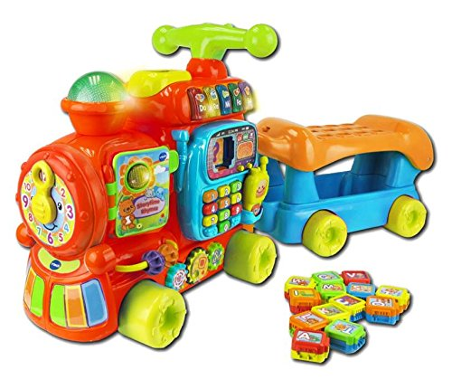 VTech Baby Push and Ride Alphabet Train Push Along Toy | Musical Baby Toy with Colours, Animals, Letters, Sounds & More | Learn to Walk Baby Toy Suitable From 1, 2+ Year Olds Boys & Girls