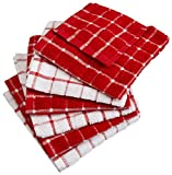 DII Terry Combo Windowpane Dishcloths Absorbant, Multi-Use, Fast Drying and Machine Washable, 12x12', Red 6 Piece