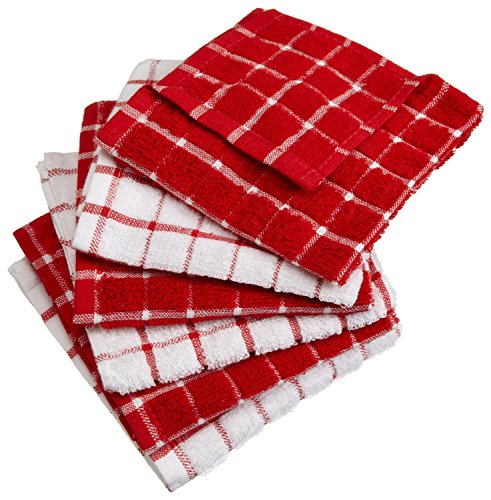DII Basic Terry Collection Windowpane Dishcloth Set, 12x12, Red 6 Count