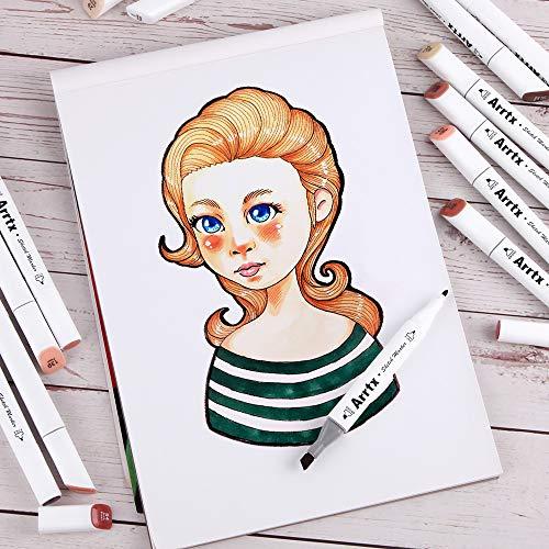 Arrtx 24 Colors Skin Tone Marker Set Dual Tip Twin, Artist Permanent Sketch Manga Marker Pens for Portrait Illustration Drawing Coloring, Alcohol Based Art Markers