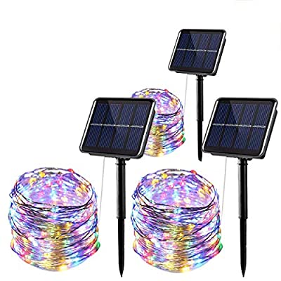 Solar String Lights Outdoor Waterproof - 3 Pack 33ft 100 LED Color Changing Lights with 8 Modes for Patio Yard,Garden,Thanksgiving Decorations (Multi-Colored)
