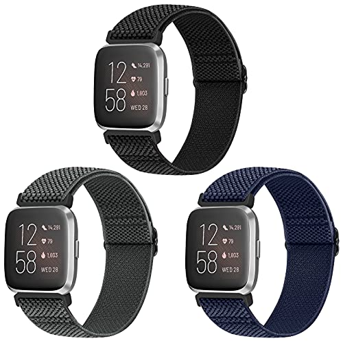 Vodtian Elastic Bands Compatible with Fitbit Versa 2/Versa/Versa Lite/Versa Special Edition Watch Band, Adjustable Nylon Braided bands Replacement Solo Loop Sport Straps Wristband for Women Men