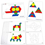 LEARNING ADVANTAGE - 7149 Learning Advantage Pattern Block Cards - in Home Learning Activity for Early Math and Geometry - Set of 20 Double-Sided Cards - Teach Creativity, Sequencing and Patterning, Multi
