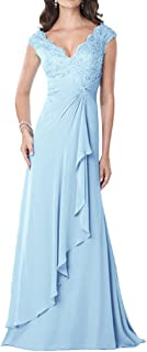 CladiyaDress Womens V Neck Appliques Floor Length Evening Dresses Cocktail Gowns D234LF