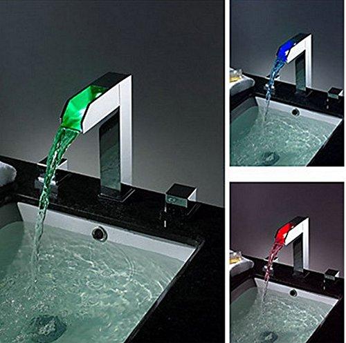 Gowe Mélangeur Cascade pour robinets, mélangeurs et robinets d'eau d'alimentation LED Mitigeur de lavabo Chrome Baignoire LED robinet Lot de 3
