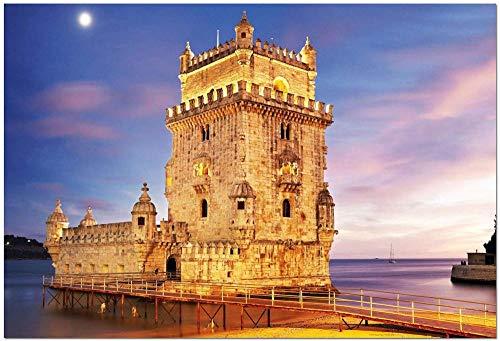 JINZUO Puzzle 1000 Pezzi 3D Bambini 8 Anni Paesaggio Legno Adulto Arte Giocattolo Decorazione Regalo Panorama Portogallo