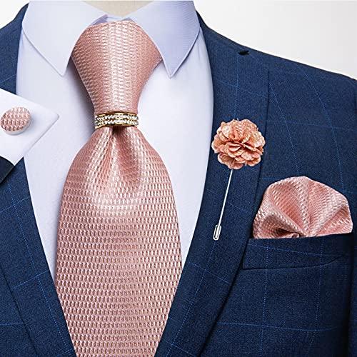 YAYANG Conjunto de corbata de seda para hombre para hombre, color rosa, sólido, para boda, corbata, pañuelo, gemelos, anillo de 8 cm para hombre, corbata y corbata (color: JZ03 7195 XH0141)