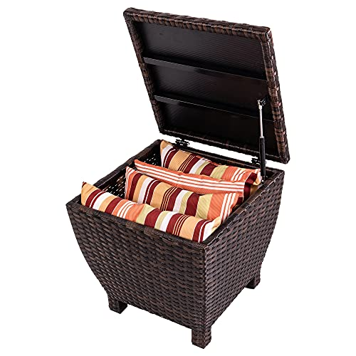 Sundale Outdoor Small Deck Storage Box Outdoor wit Lid, 13 Gallon Small Outdoor Bin Storage Container for Toys,Cushions,Towel, Patio Side Wicker Table with Storage-Steel,Rattan,Brown,Square
