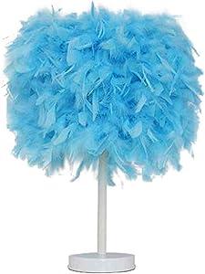 LáMpara De Mesa Feather Vintage Elegante Mesita De Noche Luz Nocturna Blanco Rosa Azul Pantalla, con LáMpara De Pluma E27, para Dormitorio VestíBulo Sala De Estar Sala De Estar De Lectura