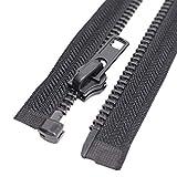 MebuZip #8 24 Inch Black Nickel Teeth Separating Jacket Zipper Right Handed Zipper Heavy Duty Metal Zippers for Men's Jackets Coats Sewing (24' RH)