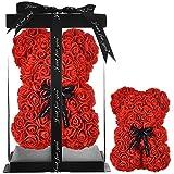 Rosa oso, regalo para mamá, mujer, para adolescentes, regalos para madres, regalos hechos a mano, osito de rosa, oso de peluche, rosa, día de San Valentín, cumpleaños – oso de rosas con caja (rojo)
