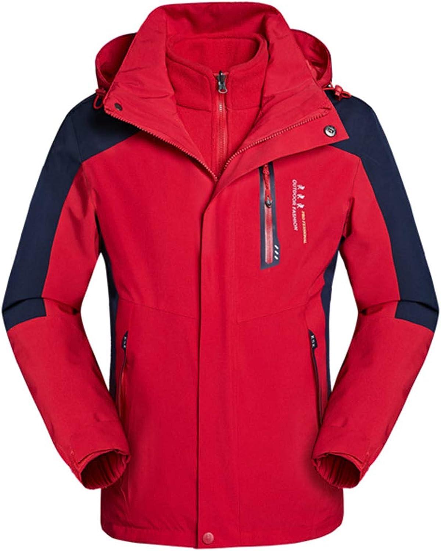 Liabb 3 in 1 Mens Waterproof Jacket-Taped Seams Jacket Detachable Hood Inner Fleece Coat Multiple Pockets for Walking Hiking,Red,XXXL