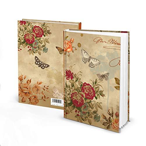 Notizbuch vintage Nostalgie DIN A5 braun beige rot floral ROSEN SCHMETTERLING Blanko-Buch HARDCOVER...