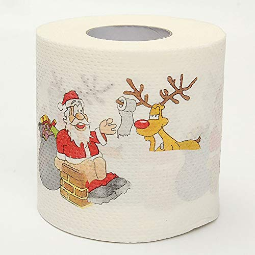 Askdasu Papel higiénico de Papá Noel con dibujos de Papá Noel impresos, rollo de papel higiénico, decoración...