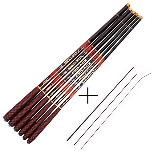 Goture telescoping tenkara Fishing Rod Crappie rods 1 Piece Portable Hand telescoping Fishing Poles Carbon Fiber Telescopic Stream Ultralight Portable Carp Pole 12 15 18 20 21FT 24FT Free Tip Set