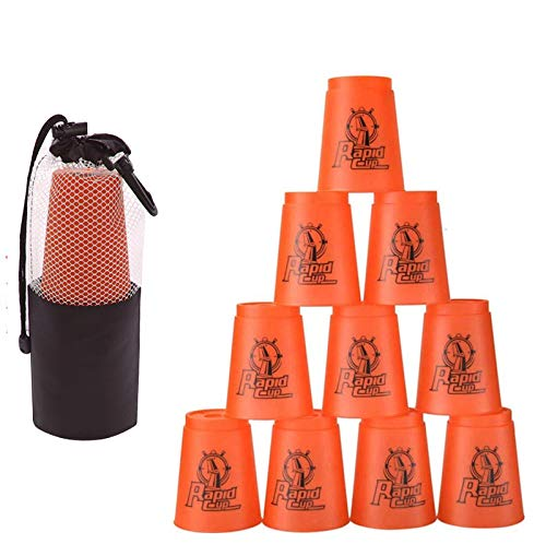 Quick Stacks Cups 12 Pack of Sports Stacking Cups Speed Training Game Challenge Competition Party Toy with Carry BagRed