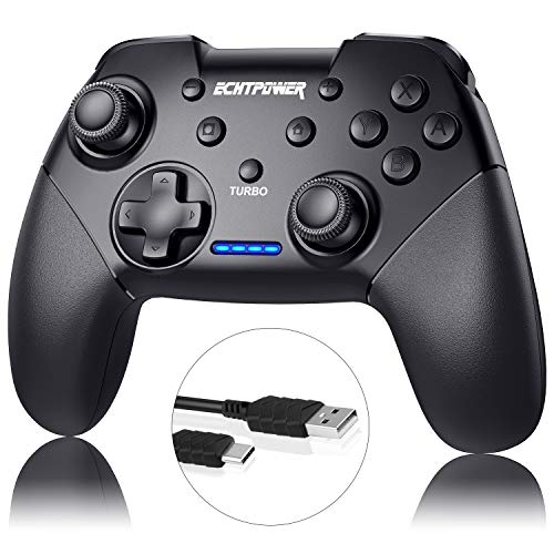 Controller für Nintendo Switch, ECHTPower Bluetooth Wireless Pro Controller für Switch/Lite mit einstellbarem Turbo, Dual Shock 6-Gyro Achse 600mAh Wiederaufladbar Akku Remote Gamepad