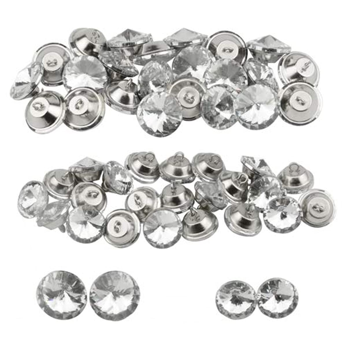 XLX 50PCS 2 Values Crystal Glass Diamond Shape Decorated Stainless Steel Modern Single Hole Round Button with Metal Loop for Crafts Furniture Headboard Clothing