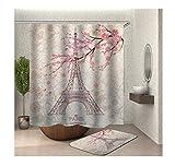 Anwaz Duschvorhang & Badezimmerteppich Set Waschbar aus Polyester Eiffelturm Muster Design Bad Vorhang Badezimmerteppiche Bunt mit 12 Duschvorhangringen für Badewanne - 90x180CM/ 40x60CM