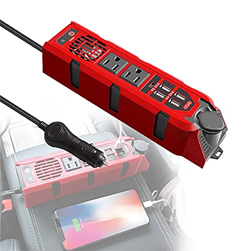 TERMALY Inversor De Corriente De 200W DC 12V a AC 110V 3-en-1 Cargador De Coche Enchufe De Encendedor De Cigarrillos + Enchufe De Ca + 4 Puertos De Carga USB Convertidor De Voltaje