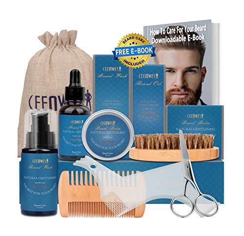 Beard Grooming Kit for Beard Care Unique Gifts for Men, Beard Oil, Beard Brush, Beard Comb, Beard Balm, Beard Shampoo, Beard & Mustache Scissors Shaping Tool Beard Growth & Trimming Kit