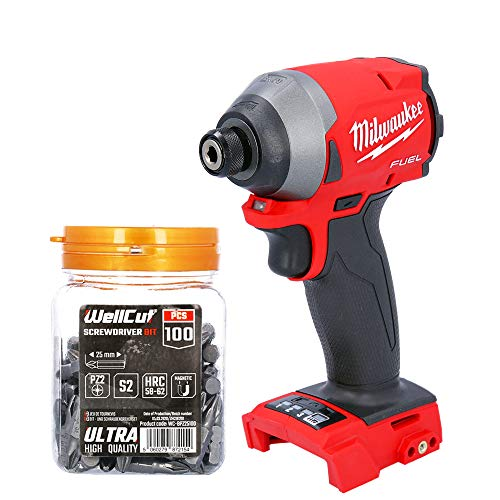 Milwaukee M18FID2 18V Fuel Impact Driver with 100 Pieces PZ2 25mm Screwdriver Bit