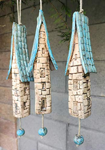 3 Keramik Windspiel Bruchsteinhäuser blau/beige Deko Sommer