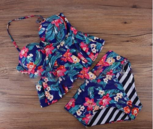 MeterBew1147 Luscious Vintage Boho Volantes Falbala Bikini de Cintura Alta Conjunto Estampado Floral Halter Swim Tops + Bragas para Mujer - Azul y Rojo M
