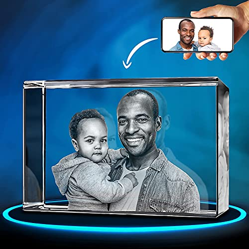 ArtPix 3D Crystal Photo, 3D Laser Etched Picture, Engraved Rectangle Crystal, Personalized Memorial Birthday Gifts for Mom, Dad, Men, Women, Customized Anniversary Couples Gifts for Wife, Husband