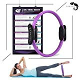 Kamileo Pilates Ring, Full Body Toning Magic Circle with Exercise Poster, High Resistance Fitness Ring for Strength Flexibility Posture Sculpting