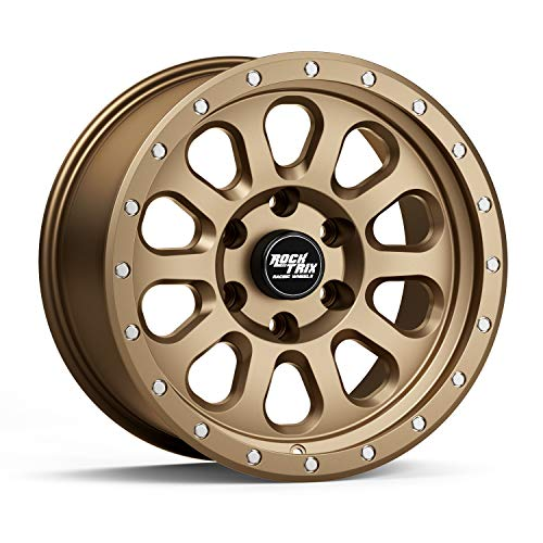 RockTrix RT111 17 inch Wheel Compatible with 01-20 Toyota Tacoma 6x5.5' (6x139.7) Bolt Pattern, 17x9 (-12mm Offset), 106.1mm Bore, Matte Bronze, Also fits 02-20 4Runner, FJ Cruiser, 99-06 Tundra - 1pc