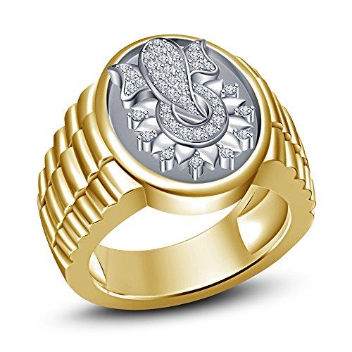 Vorra Fashion Sólido de la mejor elección de diseño Hombre. chapados en oro plata de ley 925redonda corte CZ Ganesha Anillo