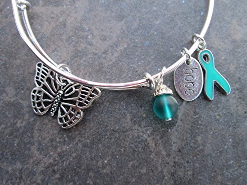 Amazon Com Ovarian Cancer Awareness Adjustable Bangle Bracelet With Teal Charms Handmade