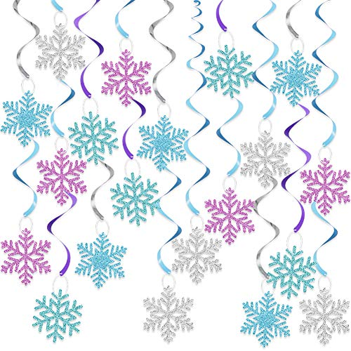 20Pcs Winter Snowflake Hanging Swirls Decorations, Christmas Hanging Ceiling Streamers Purple Blue White Snowflakes Garland for Winter Wonderland New Year Baby Shower Frozen Birthday Party Decorations
