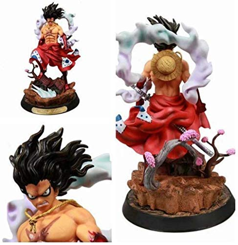 FFWW Delicado Anime Hecho a Mano Modelo Juguetes Coleccionables GK Snake-Man Luffy Kimono y Tierra del Reino Estatua Modelo Mano Alta 38CM