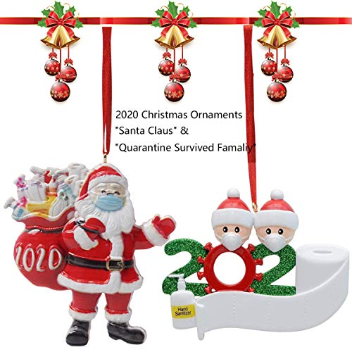 Personalized 2020 Christmas Ornament Quarantine Kit with Toilet Paper, Personalized Santa Claus Ornaments with Mask & Customized Family Name Christmas Decorating Set Creative Friends Gift