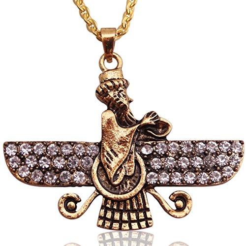 Halskette, groß, goldfarben, doppelseitig, Kristall, Faravahar, iranisches Persisches Geschenk, Edelstahl, gold, Large