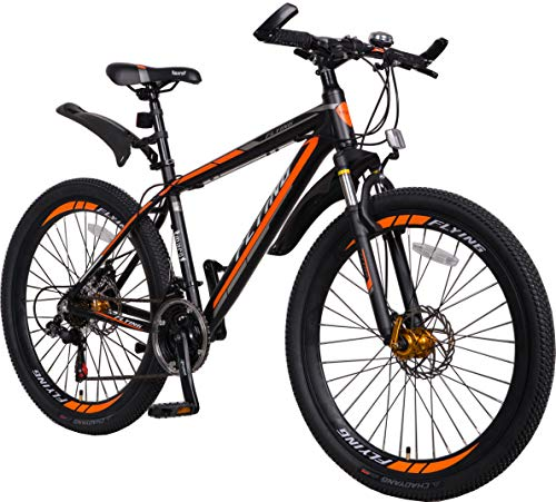 Flying Unisex's 21 Speeds Alloy Frame with Shimano Parts Lightweight Mountain Bike, Orange Black 1, 26