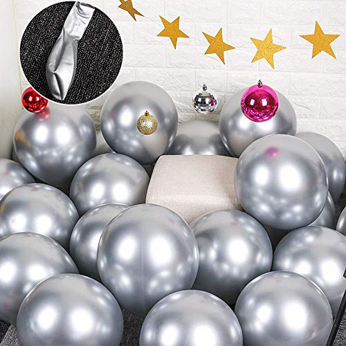 Party Balloons 12inch 50 3.2g/pcs Latex Metallic Balloons Chrome Balloons Birthday Balloons Shiny Balloons Party Decoration Wedding Birthday Baby Shower Christmas Party - Metallic Silver
