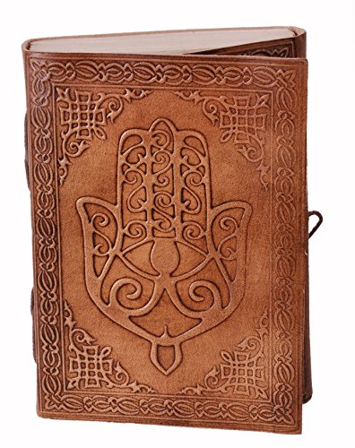 Purpledip Leather Journal (Diary Notebook) 'Hand Of God': Handmade Paper In Leather Cover For Corporate Gift or Personal Memoir (11323)
