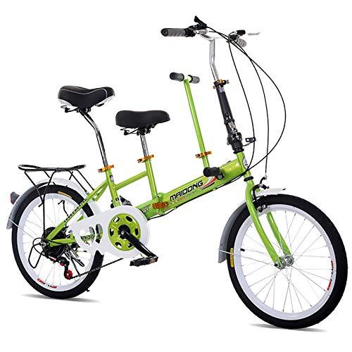 Bicicleta En Tándem para Adultos Y Niños,20-Pulgada Velocidad Variable Bicicleta Plegable Freno De Disco Bicicletas De Viaje Bebé Adulto Mujer Señora Bicicleta-Verde 20inch